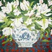 White Double Tulips And Alstroemerias Art Print