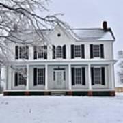 White Farm House During Winter Art Print