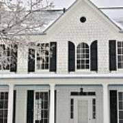 White Farm House In Winter Art Print