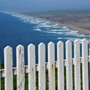 White Fence And Waves Art Print