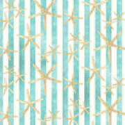 White Finger Starfish Watercolor Stripe Pattern Art Print