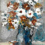 White Flower In Vase And Mug Art Print