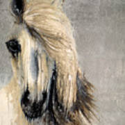White Horse On Silver Leaf Art Print