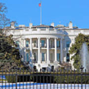 White House South Lawn With Snow Art Print