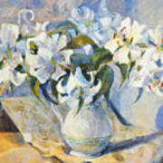 White Lilies In White Jug Art Print