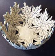 White Maple Leaf Bowl Art Print by Carolyn Coffey Wallace