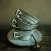 White Ornamented Teacups Art Print