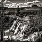 White River Falls Black  And White Art Print