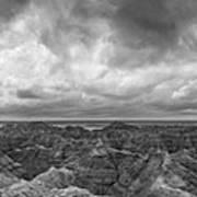 White River Valley Overlook Panorama 2 Bw Art Print