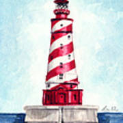 White Shoal Lighthouse Michigan Nautical Light House Red And White Candycane Stripes Art Print