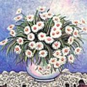 White Straw Flowers Two Art Print