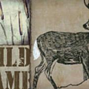White Tail Deer Wild Game Rustic Cabin Art Print