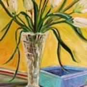 White Tulips In Cut Glass Art Print
