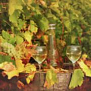 White Wine And Vineyard Autumn Season Art Print