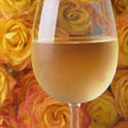 White Wine And Yellow Roses Art Print