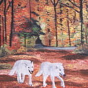 White Wolves Passing Through Art Print