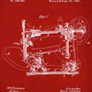 Whitehill Sewing Machine Patent 1885 Red Art Print