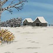 Winter Deer  Lookout Art Print