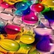 Wicker Marble Rainbow Fractal 2 Art Print