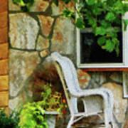 Wicker Rocking Chair On Porch Art Print