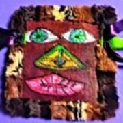 Wide Eyed Loup Garou Mardi Gras Screen Mask Art Print