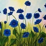 Wild Blue Poppies Art Print