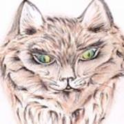 Wild- Brown Hair Cat Art Print