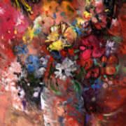 Wild Flowers Bouquet In A Terracota Vase Art Print