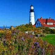 Wild Flowers Fading At The Portland Head Light Art Print