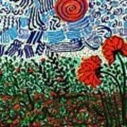 Wild Flowers Under Wild Sky Art Print