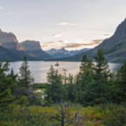 Wild Goose Island Sunset - Glacier National Park Montana Art Print
