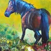 Wild Horse On Dartmoor - Roaming Free Art Print