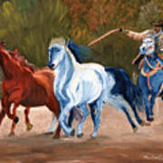 Wild Horse Roundup Art Print