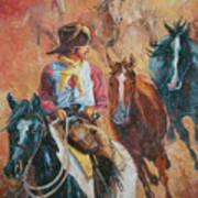 Wild Horse Stampede Art Print
