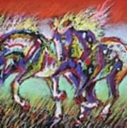 Wild Pastel Ponies Art Print by Louise Green