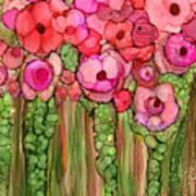 Wild Poppy Garden - Pink Art Print