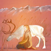 Wild Reindeer And Young Woman Becoming Friends - Poetic Painting Art Print