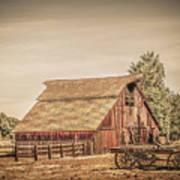 Wild West Barn And Hay Wagon Art Print