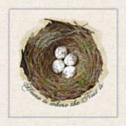 Wildcraft Nest On Linen Art Print