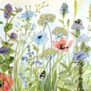 Wildflower And Bees Art Print
