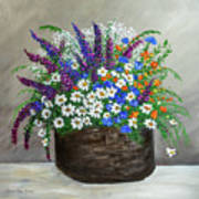 Wildflower Basket Acrylic Painting A61318 Art Print