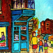 Wilensky's Counter With School Bus Montreal Street Scene Art Print