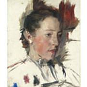 Wilhelm Leibl 1844 - 1900 German Bauernmadchen Farm Girl Art Print