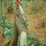 William Henry Margetson, Woman In A Spring Landscape. Art Print