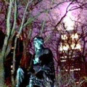 William Seward Statue And Empire State Bldg With Trees Art Print
