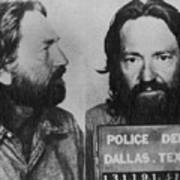 Willie Nelson Mug Shot Horizontal Black And White Art Print