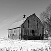 Willow Barn Bw Art Print