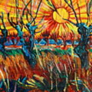 Willows At Sunset - Study Of Vincent Van Gogh Art Print
