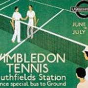 Wimbledon Tennis Southfield Station - London Underground - Retro Travel Poster - Vintage Poster Art Print