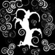 Wind Dancing - White On Black Silhouettes Art Print
